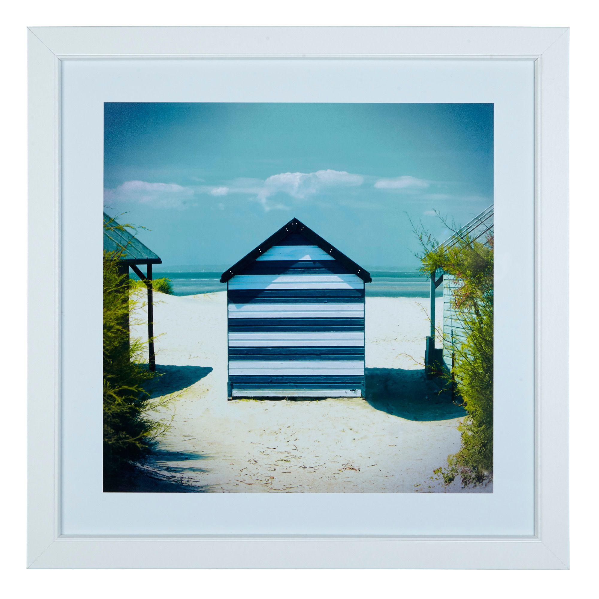 Beach Multicolour Framed Print (w)570mm (h)570mm