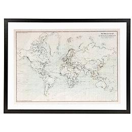 World Oceans Map Mono Framed Print (W)83cm (H)63cm