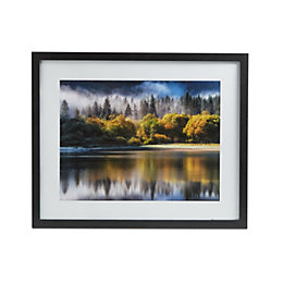 Autumn Lake Black Framed Print (W)54cm (H)44cm