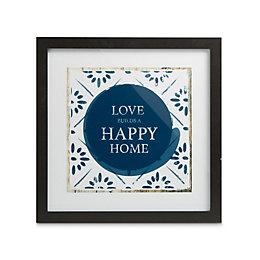 Love Home Black Framed Print (W)33.5cm (H)33.5cm