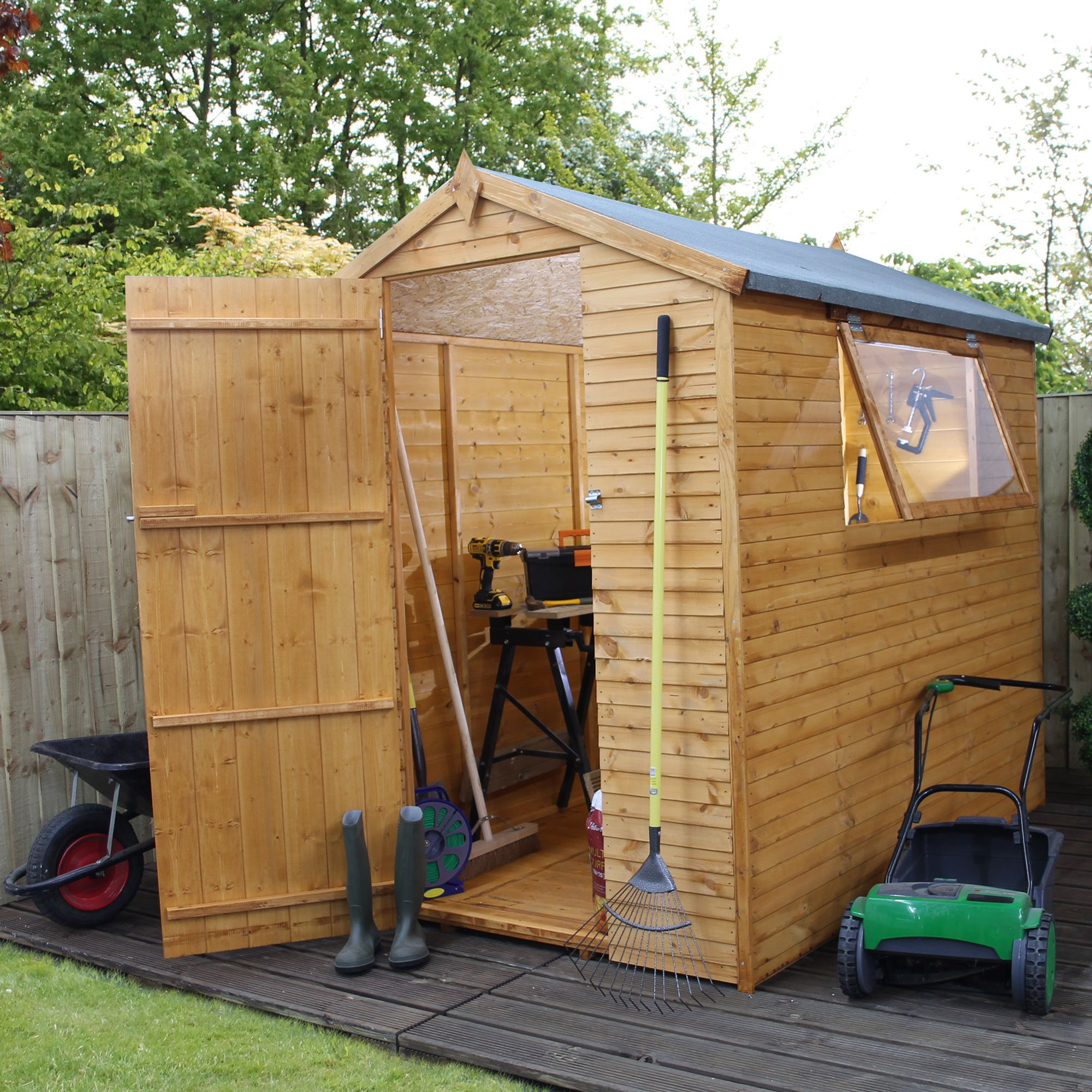 7x5 apex shiplap wooden shed with assembly service base for Garden shed 7x5