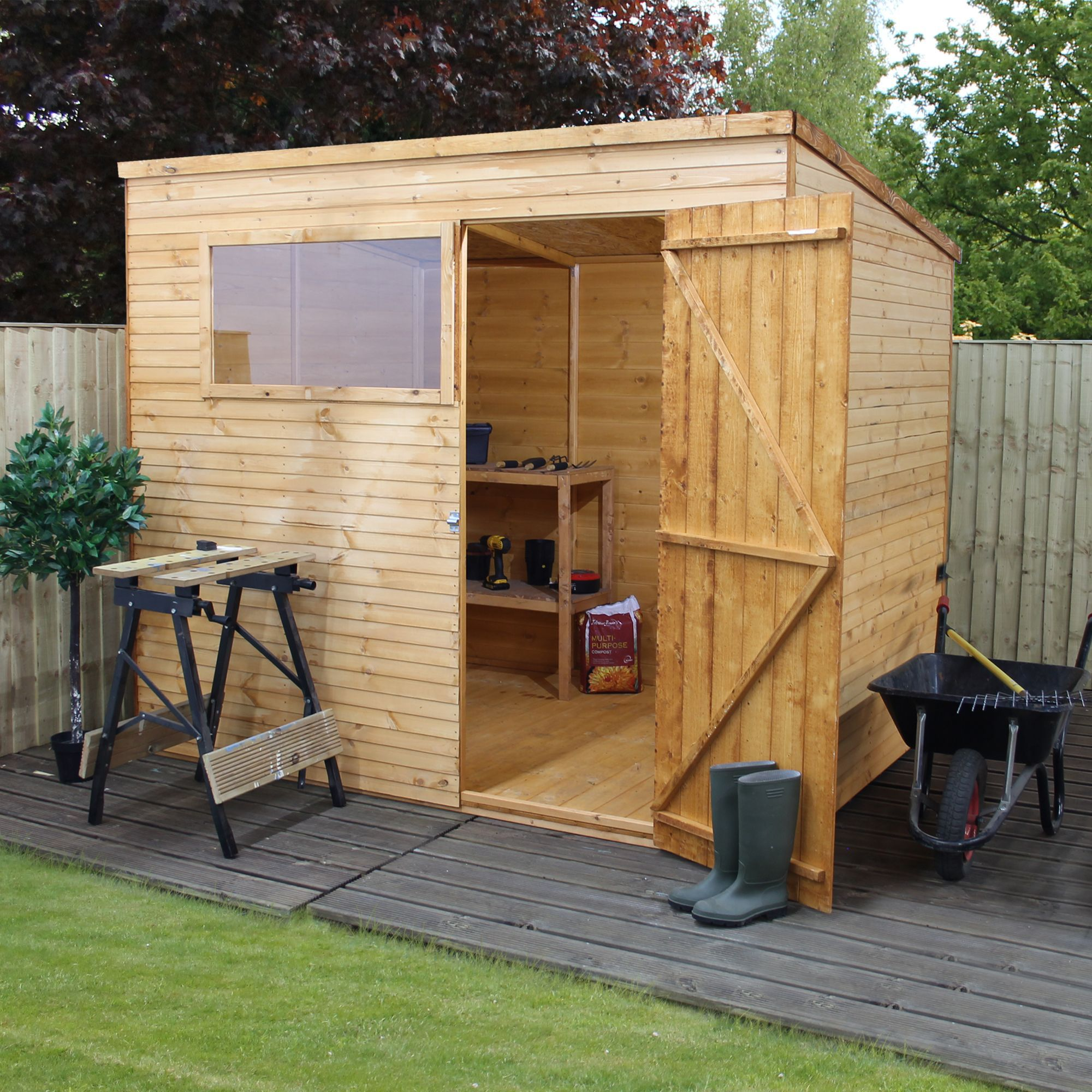 8x6 pent overlap wooden shed with base departments diy for Garden shed 8x6