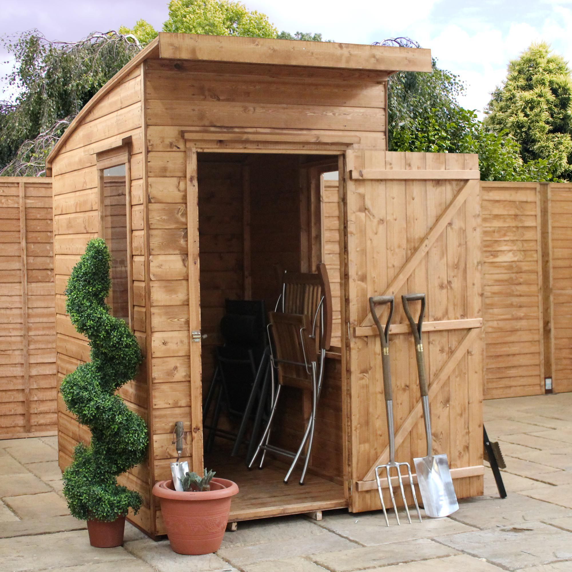 6x4 aero curved roof shiplap wooden shed base included departments diy at bq