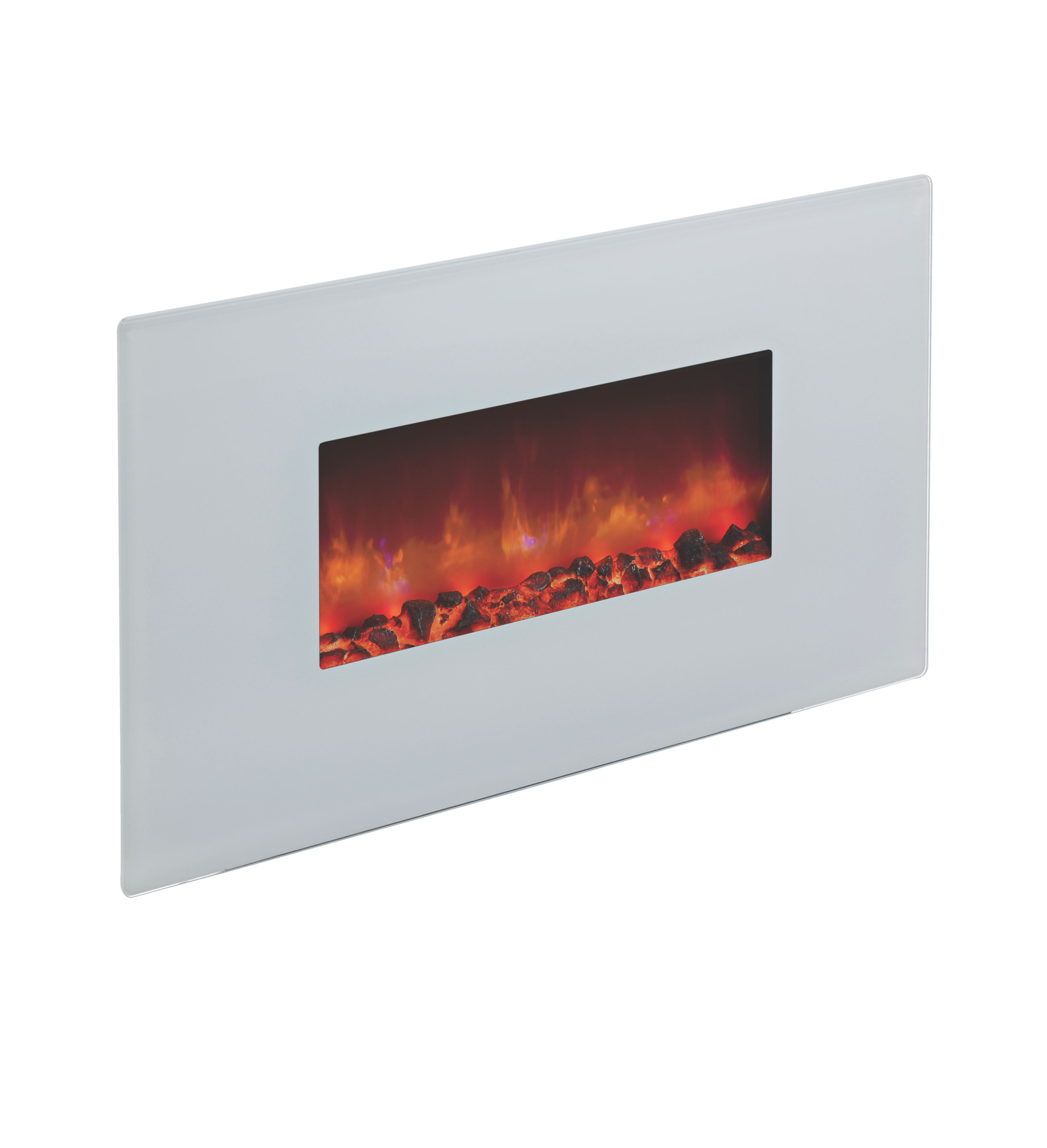 Be Modern Cortona White Glass Remote Control Wall Hung Electric Fire |  Departments | DIY at B&Q