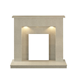 Alnwick Manila Micro Marble Fire Surround with Lights