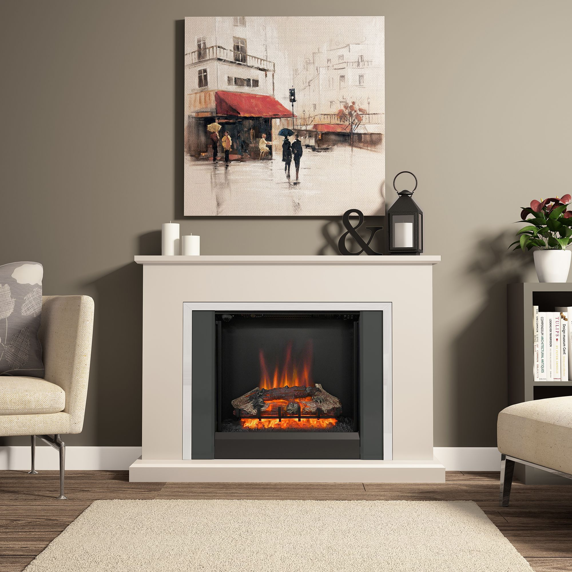 Be Modern Ashburnham Black Led No Remote Control Electric Fire Suite