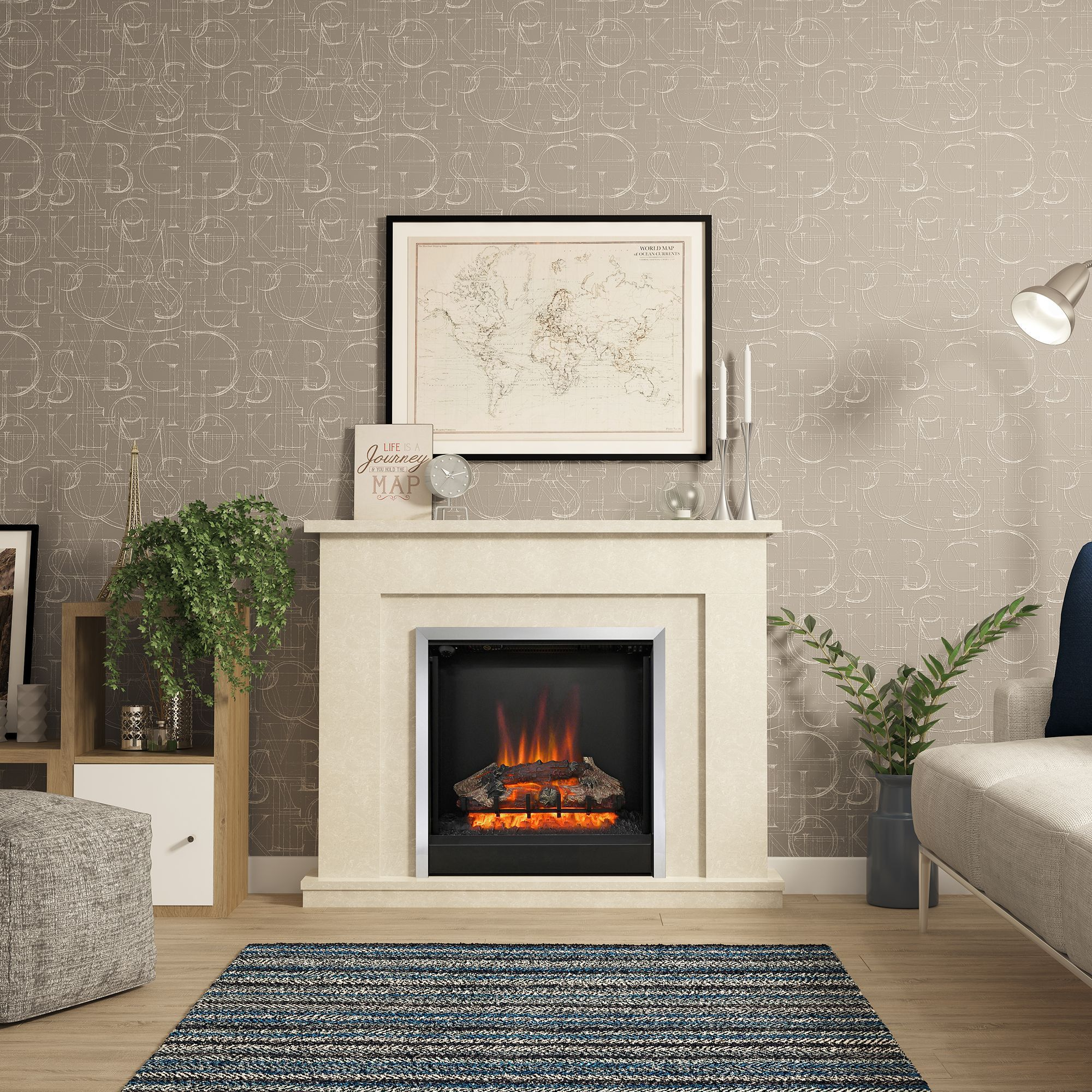 Be Modern Evelina Manila Micro Marble Led Electric Fire Suite