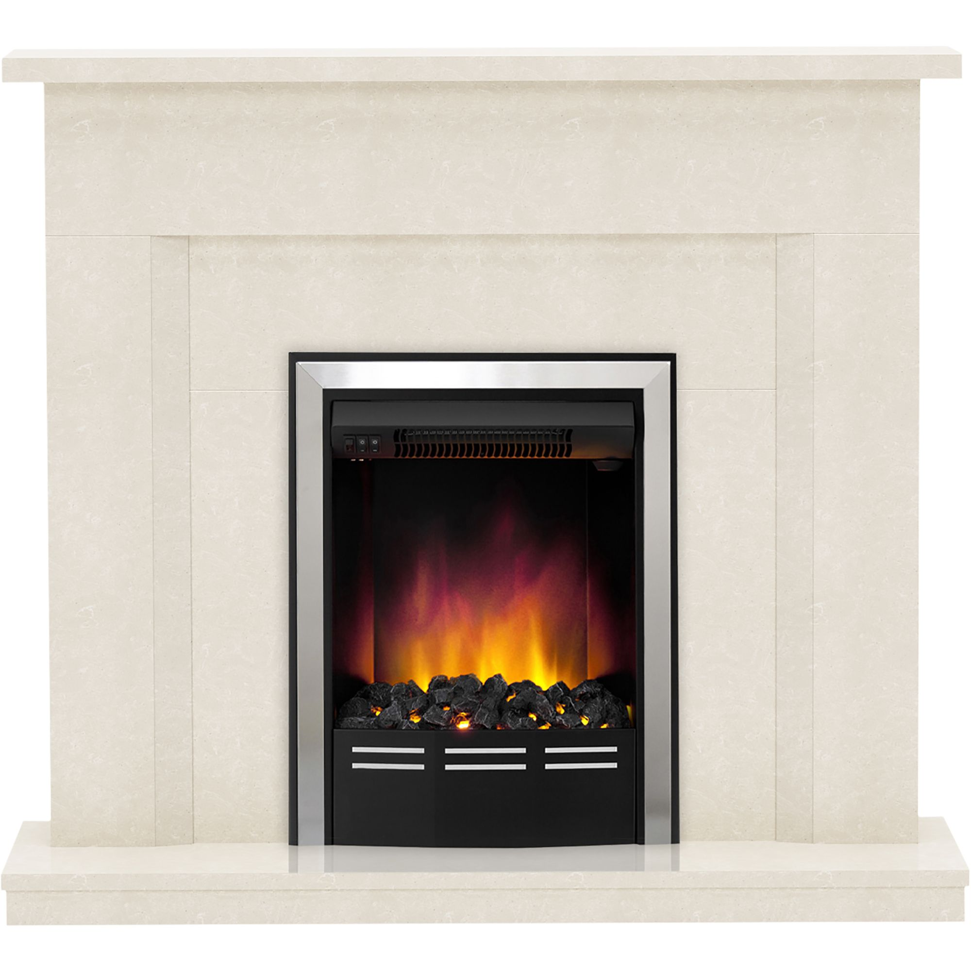 Be Modern Mariano Manila Micro Marble Led Electric Fire Suite