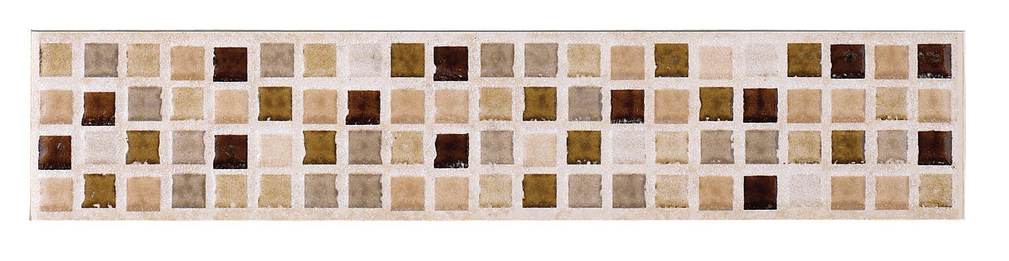 Sandstorm Beige Stone Effect Mosaic Ceramic Border Tile, (l)250mm (w)50mm
