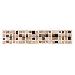 Sandstorm Beige Mosaic Ceramic Border Tile, (L)250mm (W)50mm