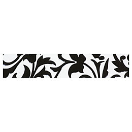 Flock Black & White Ceramic Border Tile, (L)250mm
