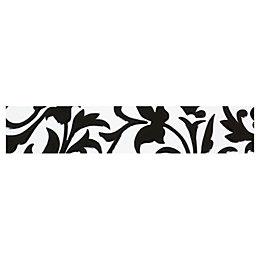 Flock Black & White Ceramic Border Tile, (L)250mm