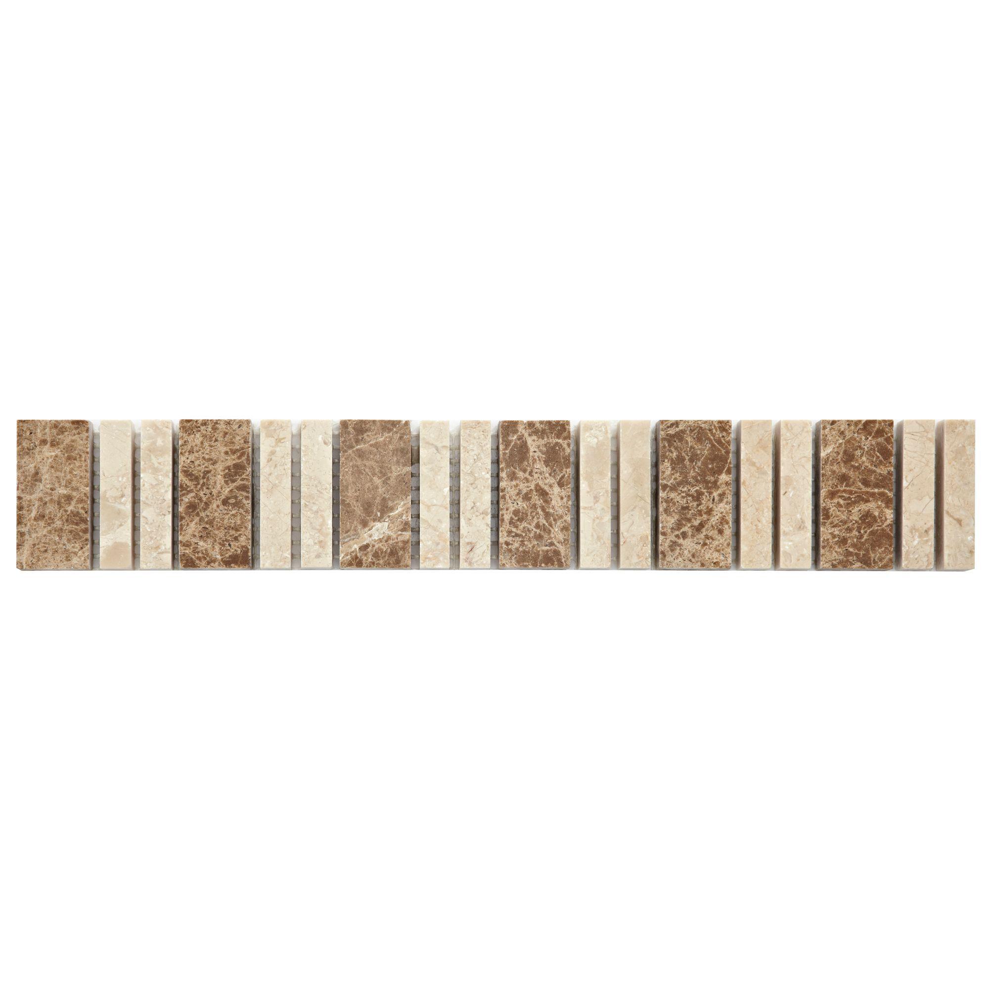 Almond Beige Stone Effect Mosaic Ceramic Border Tile, (l)305mm (w)48mm