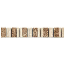Almond Beige Mosaic Ceramic Border Tile, (L)305mm (W)48mm