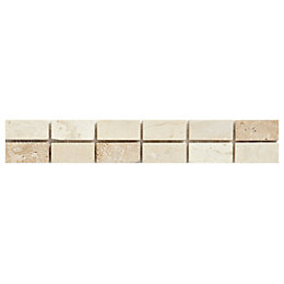 Straight Mix Natural Mosaic Ceramic Border Tile, (L)250mm
