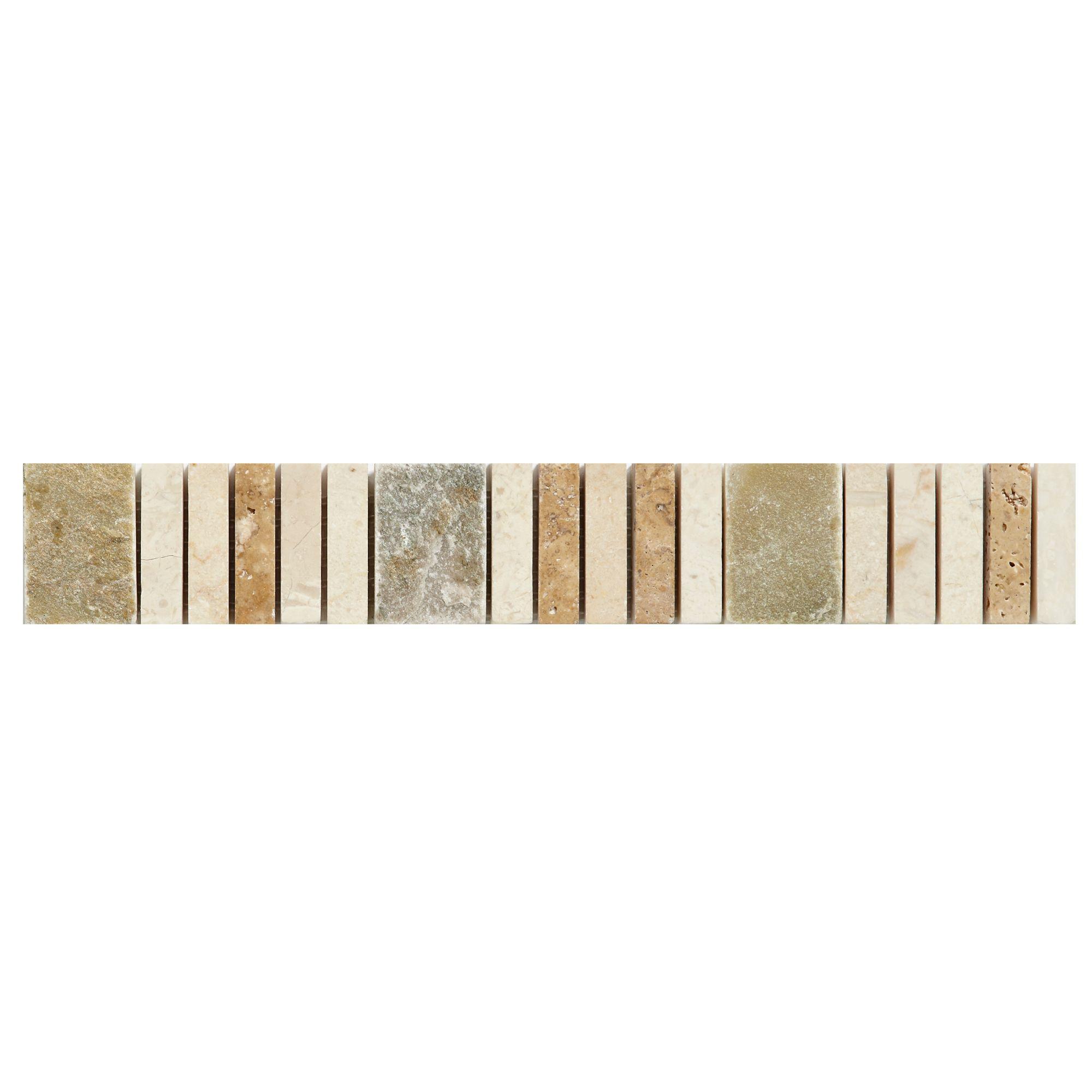 Matchstick Natural Mosaic Border Tile, (l)250mm (w)40mm