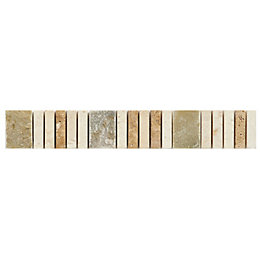 Matchstick Natural Mosaic Border Tile, (L)250mm (W)40mm
