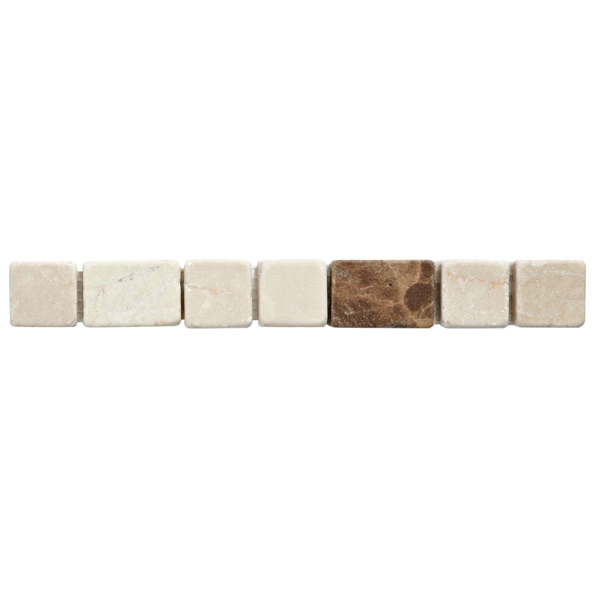 Block Natural Stone Effect Mosaic Border Tile, (l)250mm (w)30mm