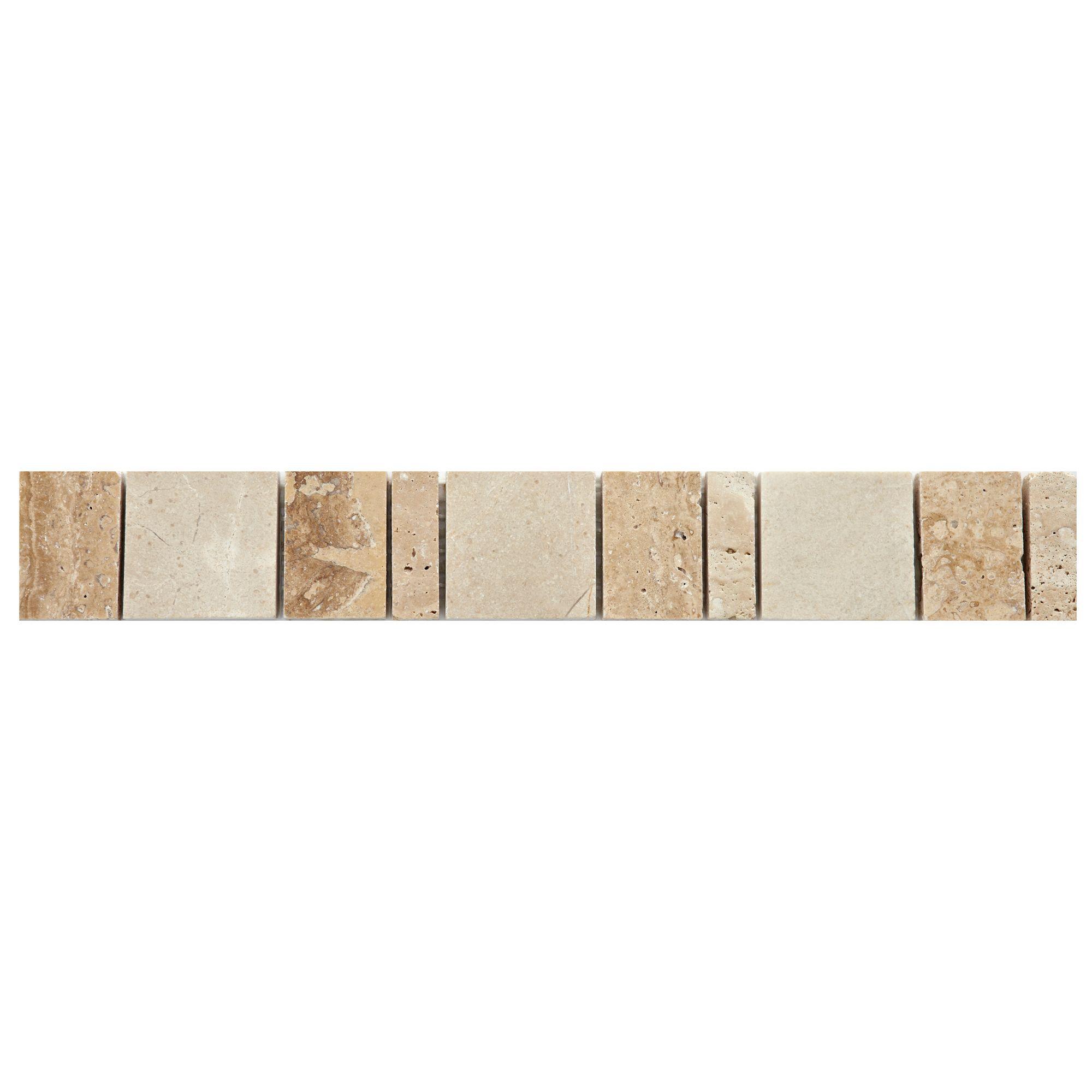Sunstone Natural Mosaic Ceramic Border Tile, (l)333mm (w)48mm