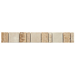Sunstone Natural Mosaic Ceramic Border Tile, (L)333mm (W)48mm