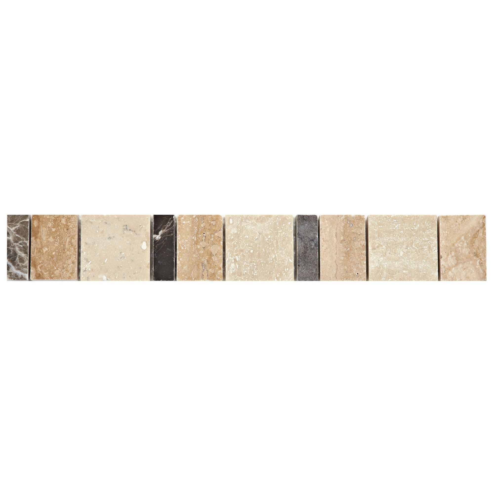 Block Neutral Marble Effect Mosaic Marble Border Tile, (l)333mm (w)48mm