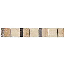Block Neutral Marble Effect Mosaic Marble Border Tile,