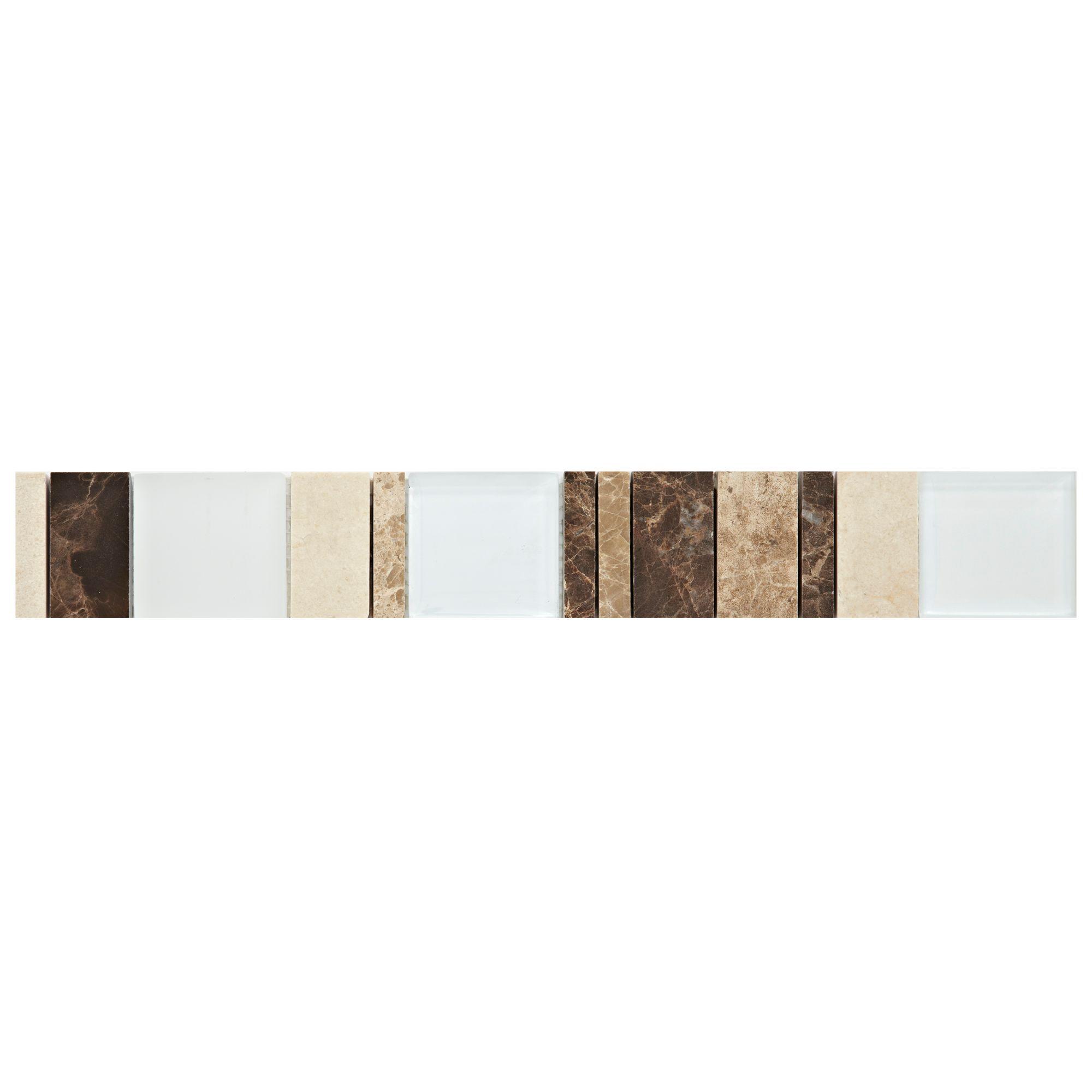 Tiger Mix Natural Mosaic Border Tile, (l)333mm (w)48mm