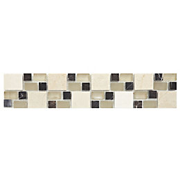 Multi Square Earth Mosaic Ceramic Border Tile, (L)333mm
