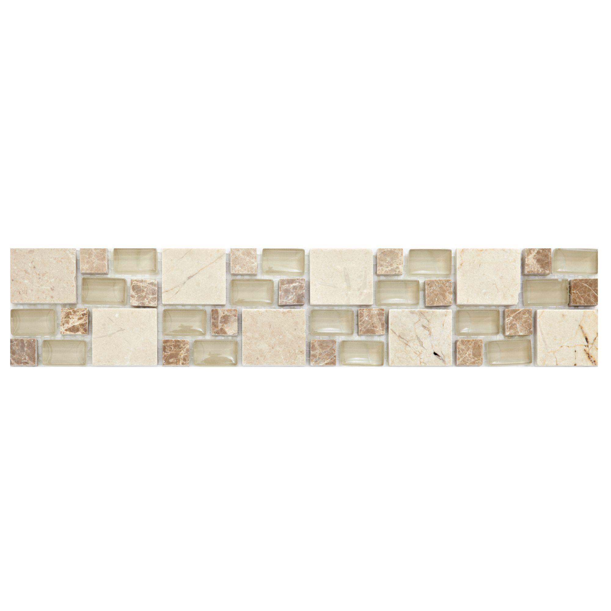 Multi Square Neutral Mosaic Ceramic Border Tile, (l)333mm (w)66mm