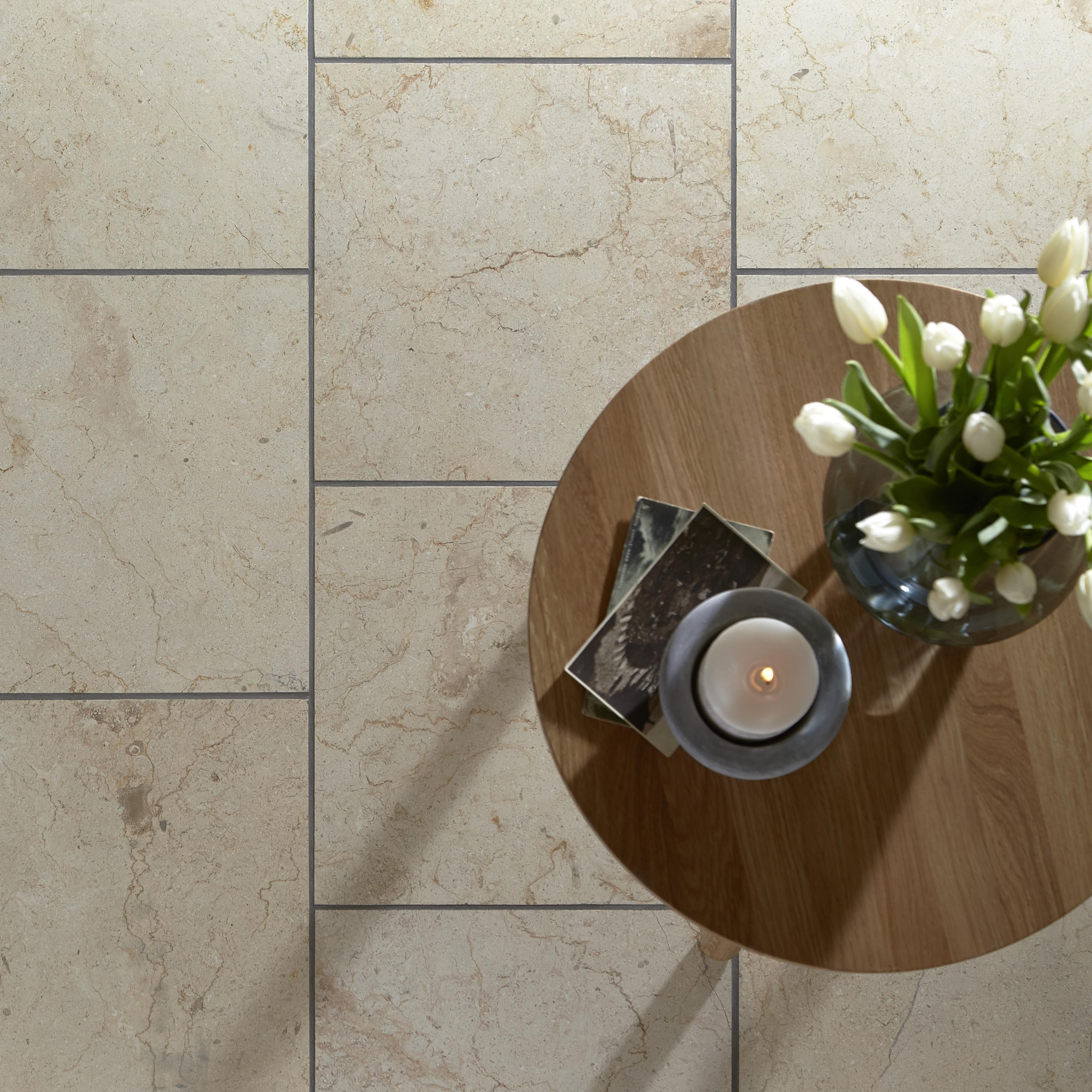 Crema Beige Marble Wall & Floor Tile, Pack Of 5, (l)457mm (w)305mm