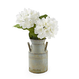 Silver Tin Churn with Artificial Hydrangea Flowers