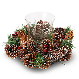 Green Fir, Pine Cone & Berries Candle Ring