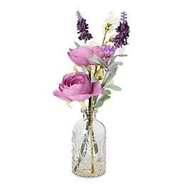 Pink Ranunculus, Sweet Pea & Lavender Artificial Floral