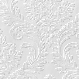 Anaglypta Luxury White High Traditional Paintable Wallpaper