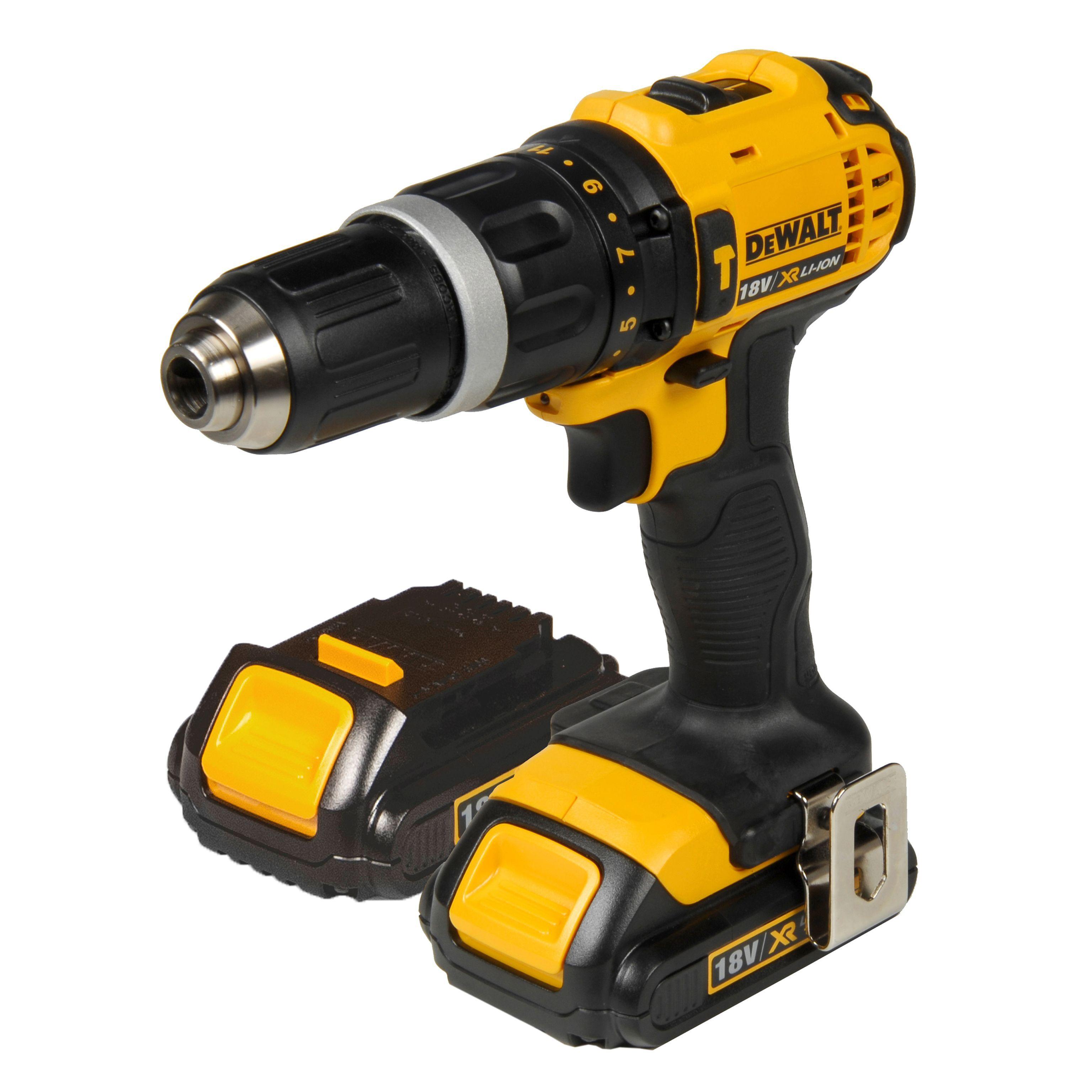 Dewalt Cordless 18v 1.5ah Li-ion Combi Drill 2 Batteries Dcd785c2sf-gb