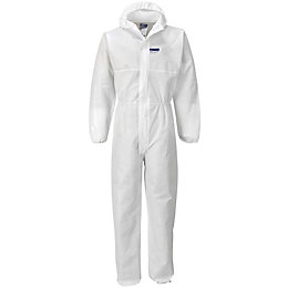 Portwest White Hooded Coverall Large