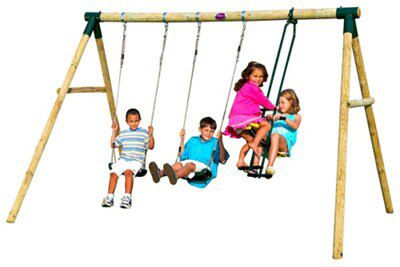 Plum Colobus Wooden Swing Set Departments