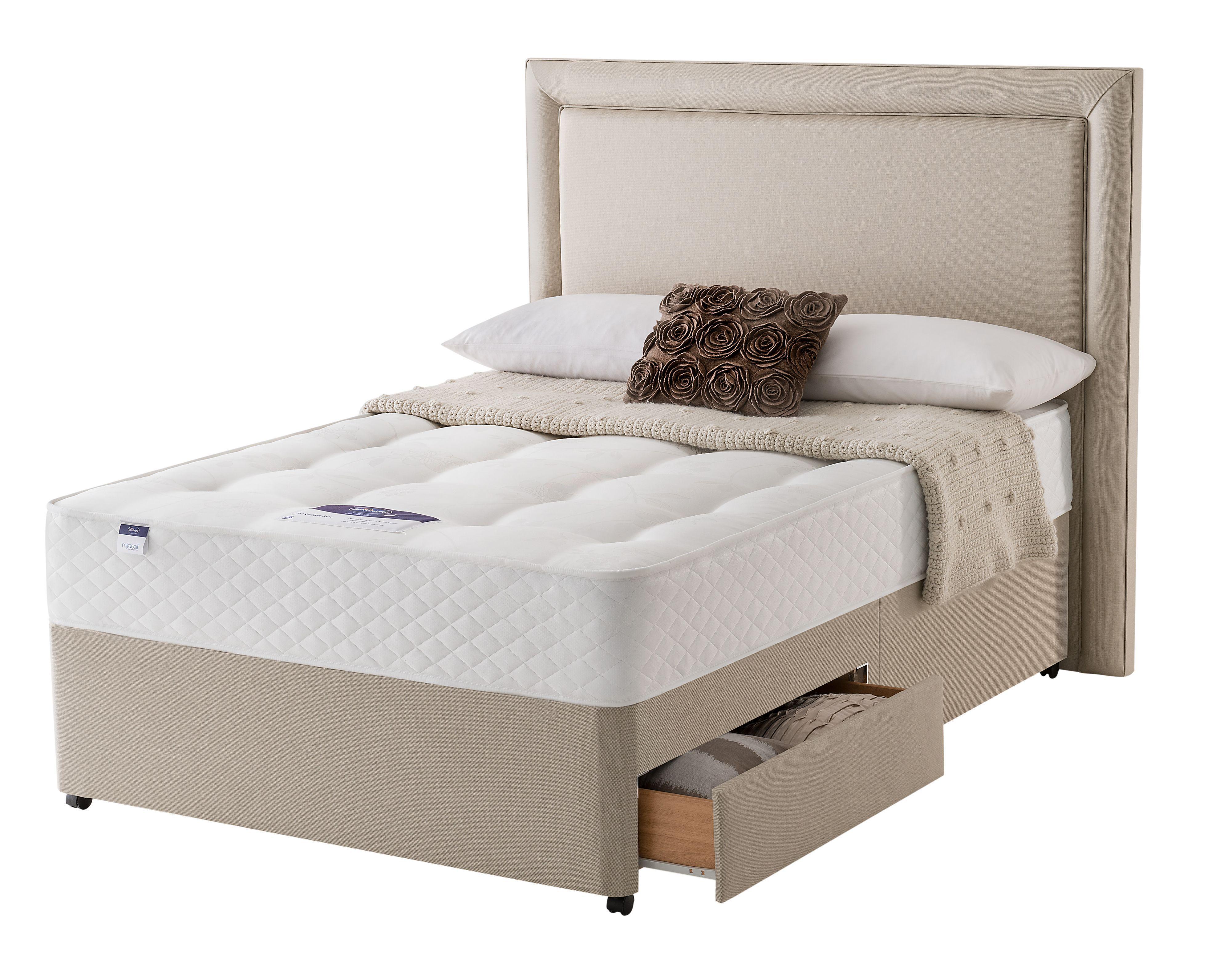 Silentnight ortho king size 2 drawer divan bed for Divan 2 2 drawers