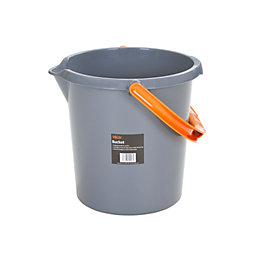 Grey & Orange Plastic 16 L Bucket