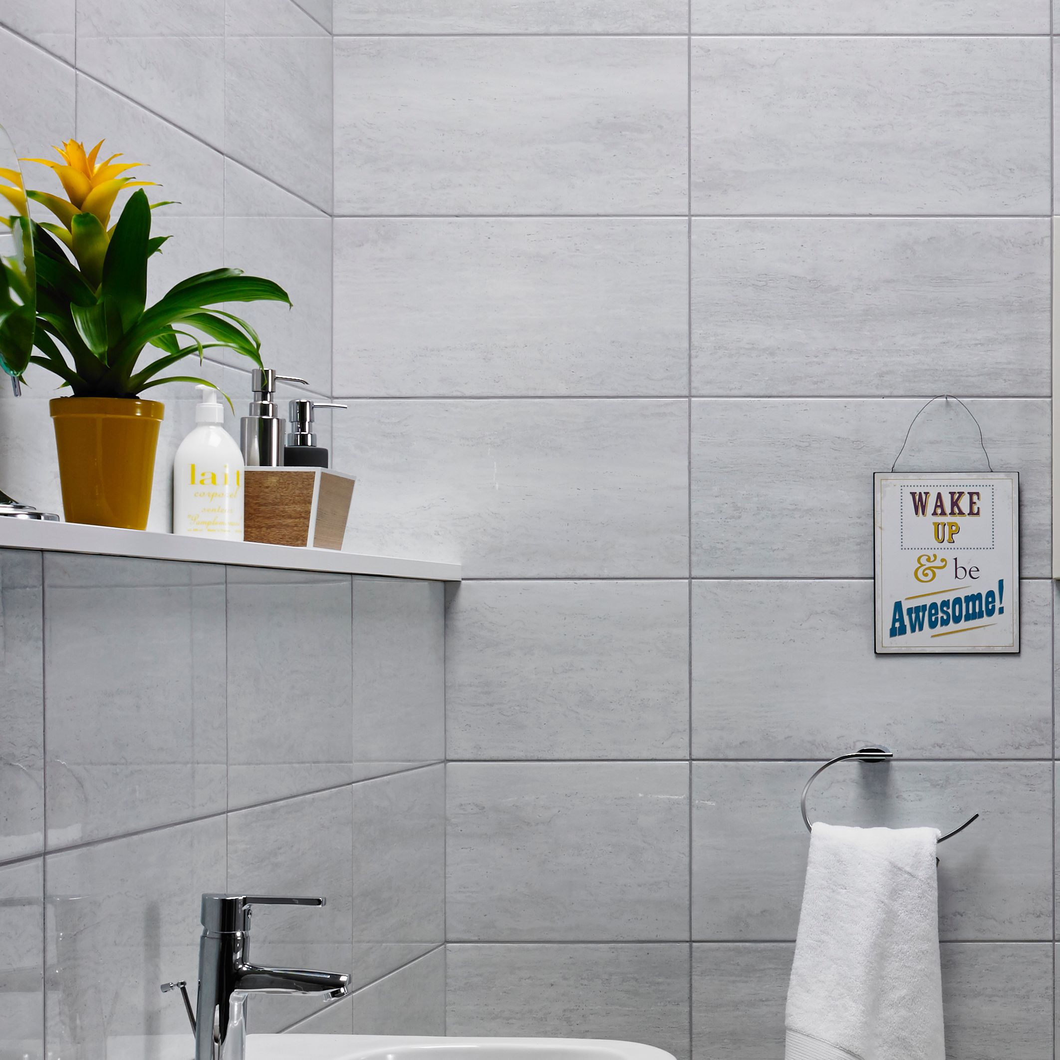 B And Q Bathroom Tile Ideas : Origin pebble stone effect linear travertine ceramic wall