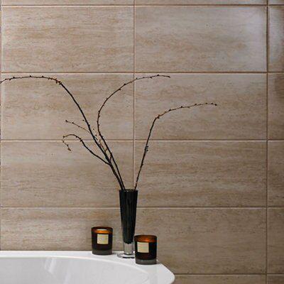 Origin Sand Stone Effect Linear Travertine Ceramic Wall Tile, Pack Of 8, (l)498mm (w)248mm