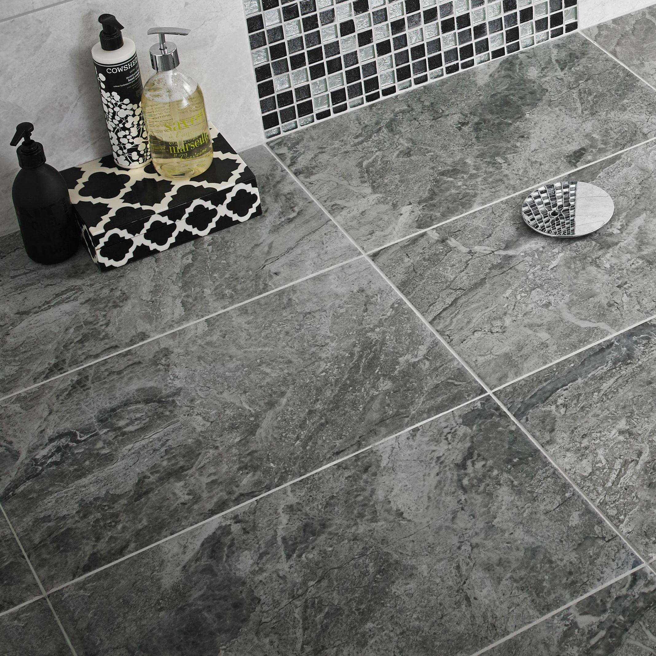 Urban White Stone Effect Ceramic Wall Floor Tile Pack: DIY At B&Q