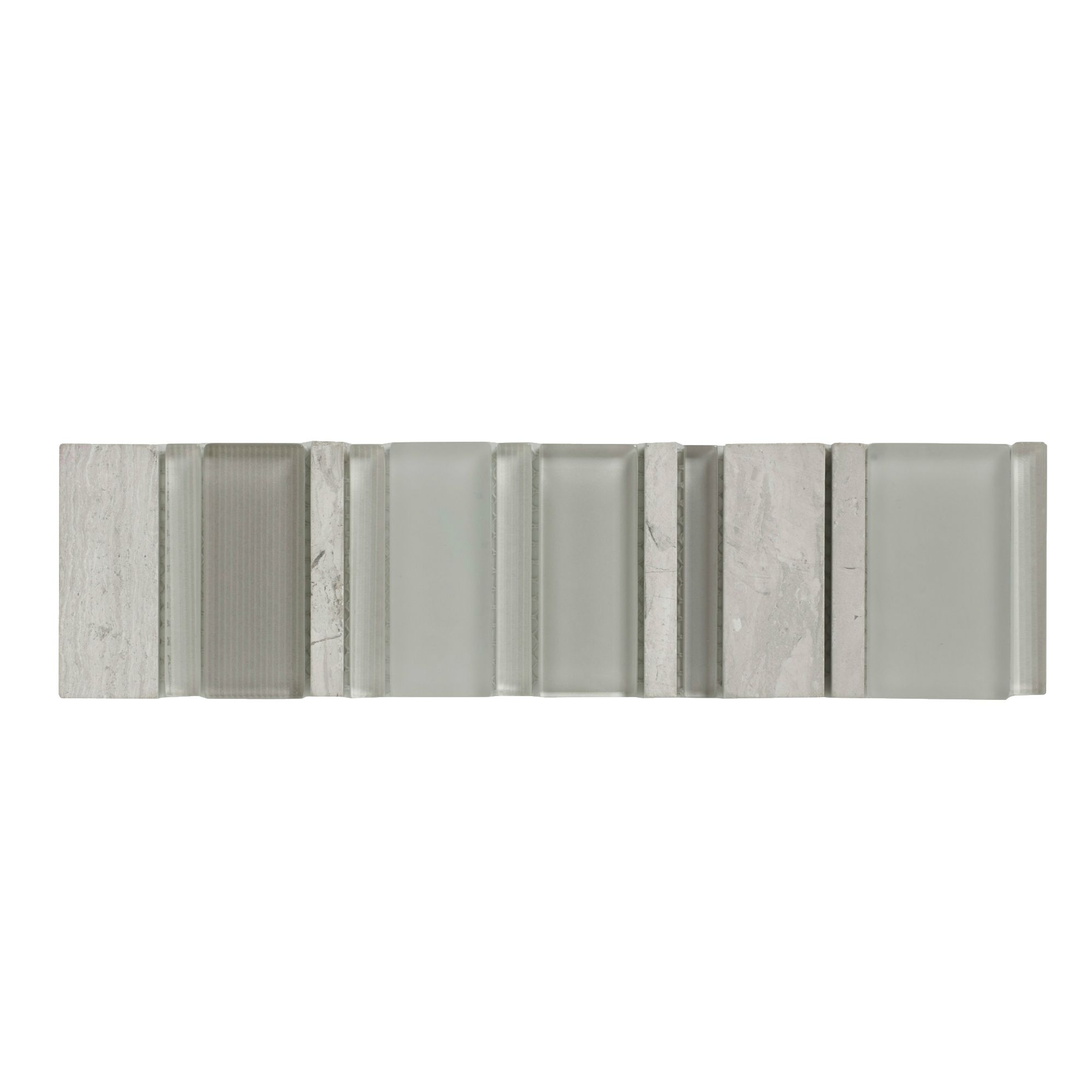 Fossilised Wood Pebble Stone Effect Glass, Stone & Metal Border Tile, (l)300mm (w)75mm