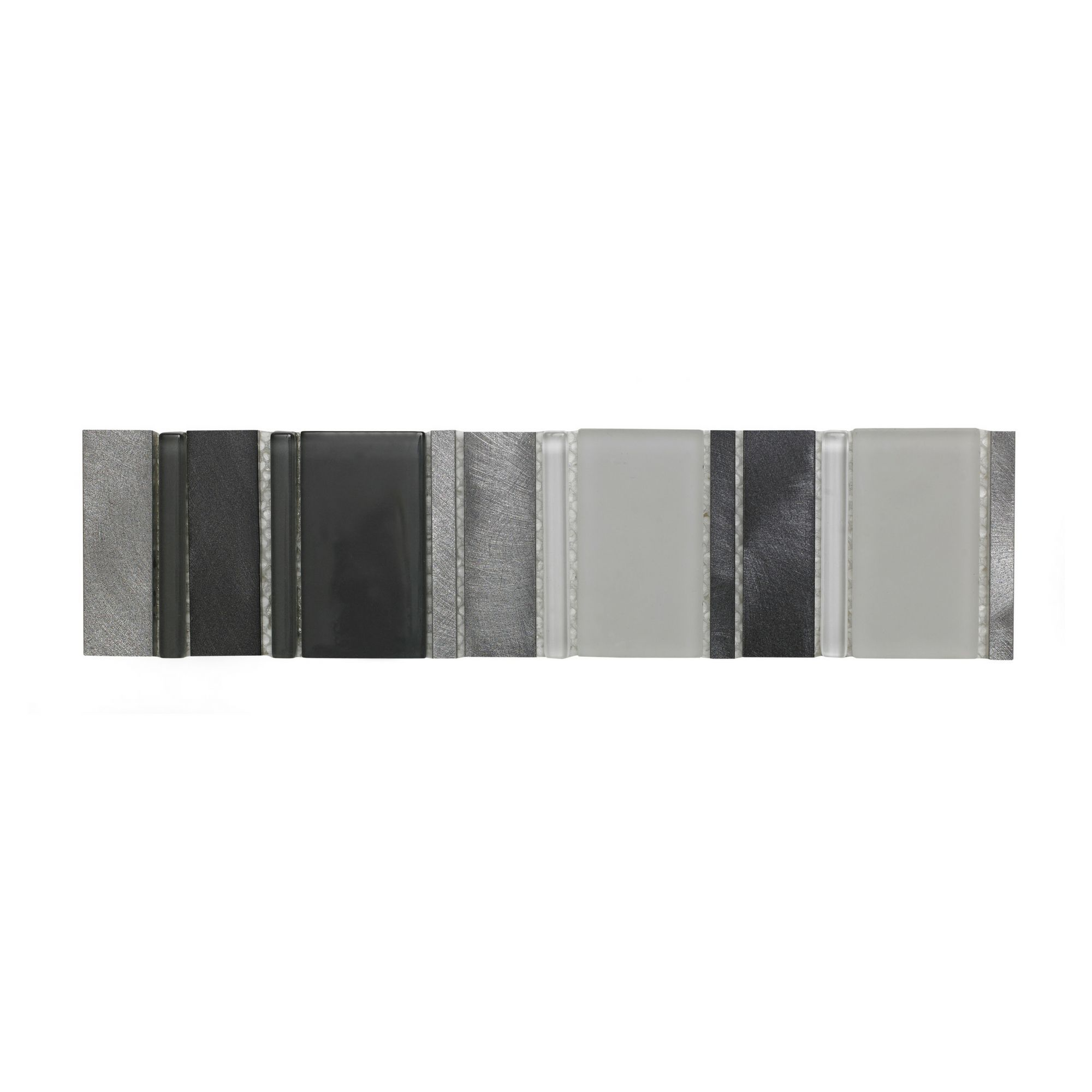Arlington Silver Stone Effect Glass, Stone & Metal Border Tile, (l)300mm (w)75mm