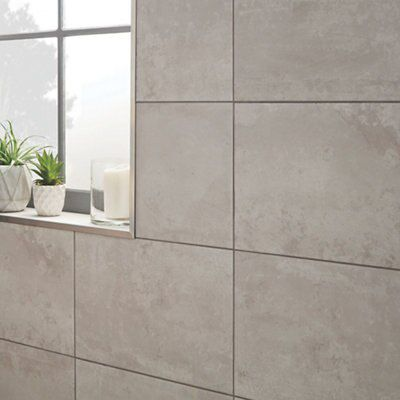 Diy at bq lofthouse zinc concrete effect ceramic wall floor tiles pack of 6 l dailygadgetfo Image collections
