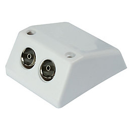 Tristar White 2 Way White Coaxial Aerial Splitter