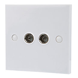 Tristar White Twin Coaxial Outlet Plate