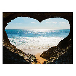 Heart Shaped Sea Image Multicolour Canvas Art (W)77cm