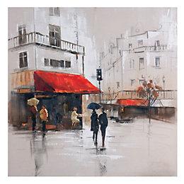 French Café Scene Multicolour Canvas Art (W)80cm (H)80cm