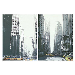 New York Taxis City Scape Mono Canvas Art